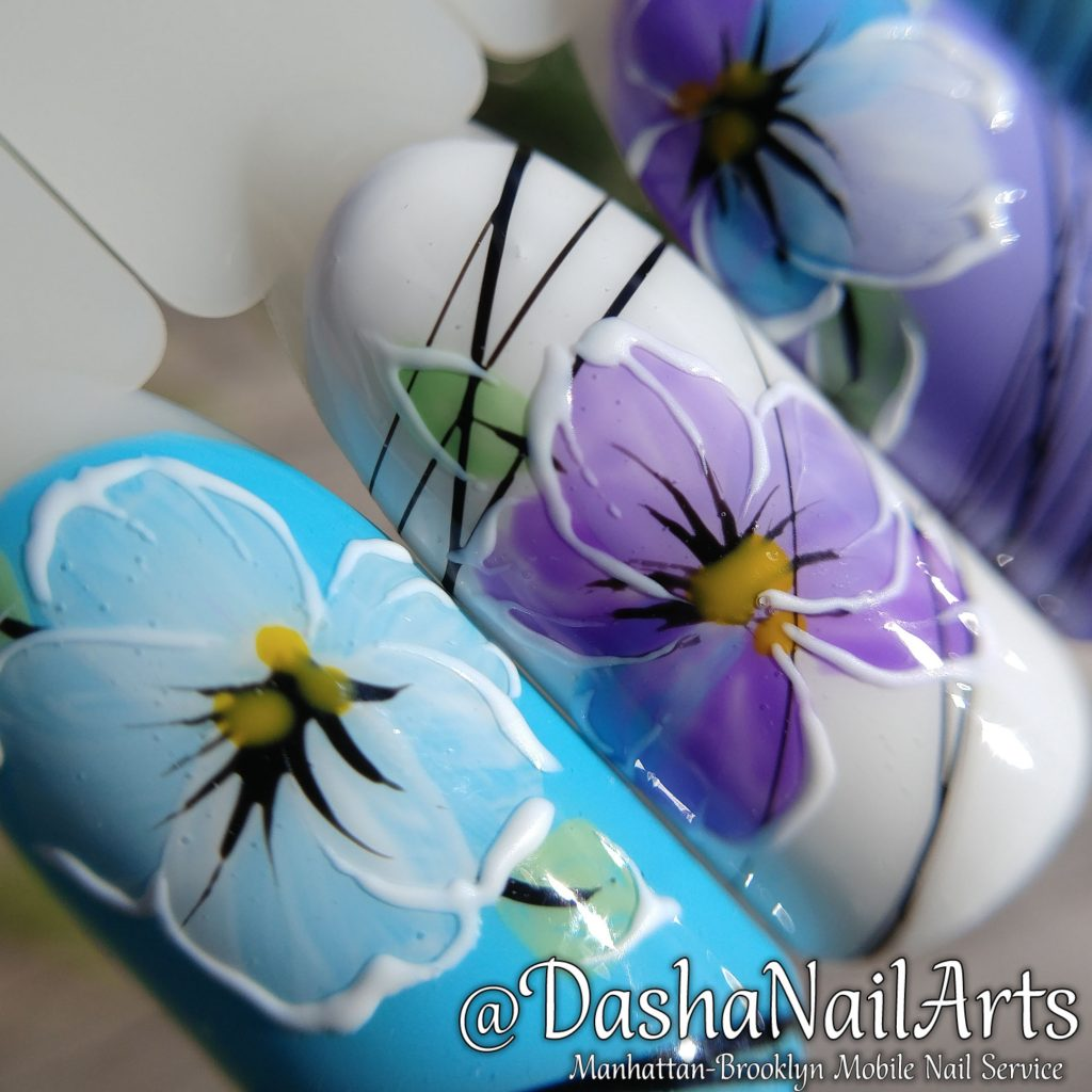 Pansy flower nails