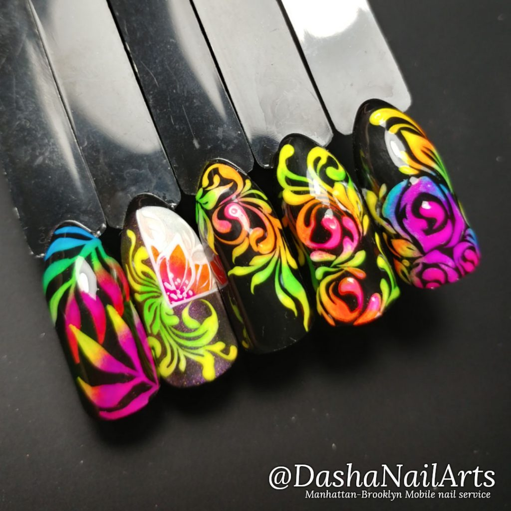 Neon nails with flower patterns