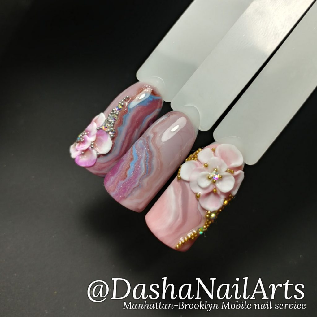 nude 3D gel flower nail design with marble pattern