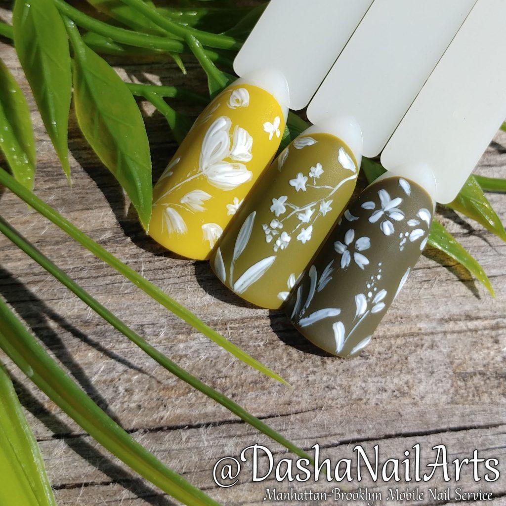 Pistachio floral pattern nail art