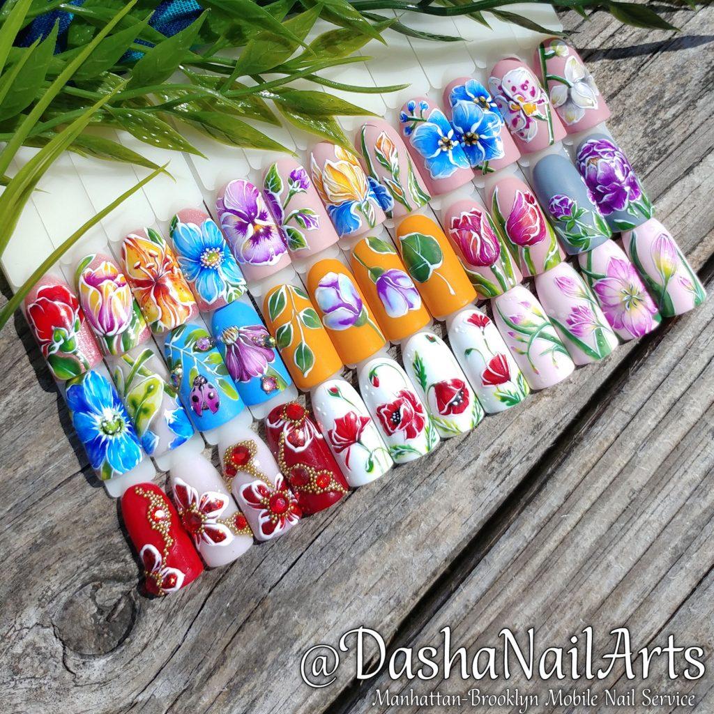 Set of flower nail designs