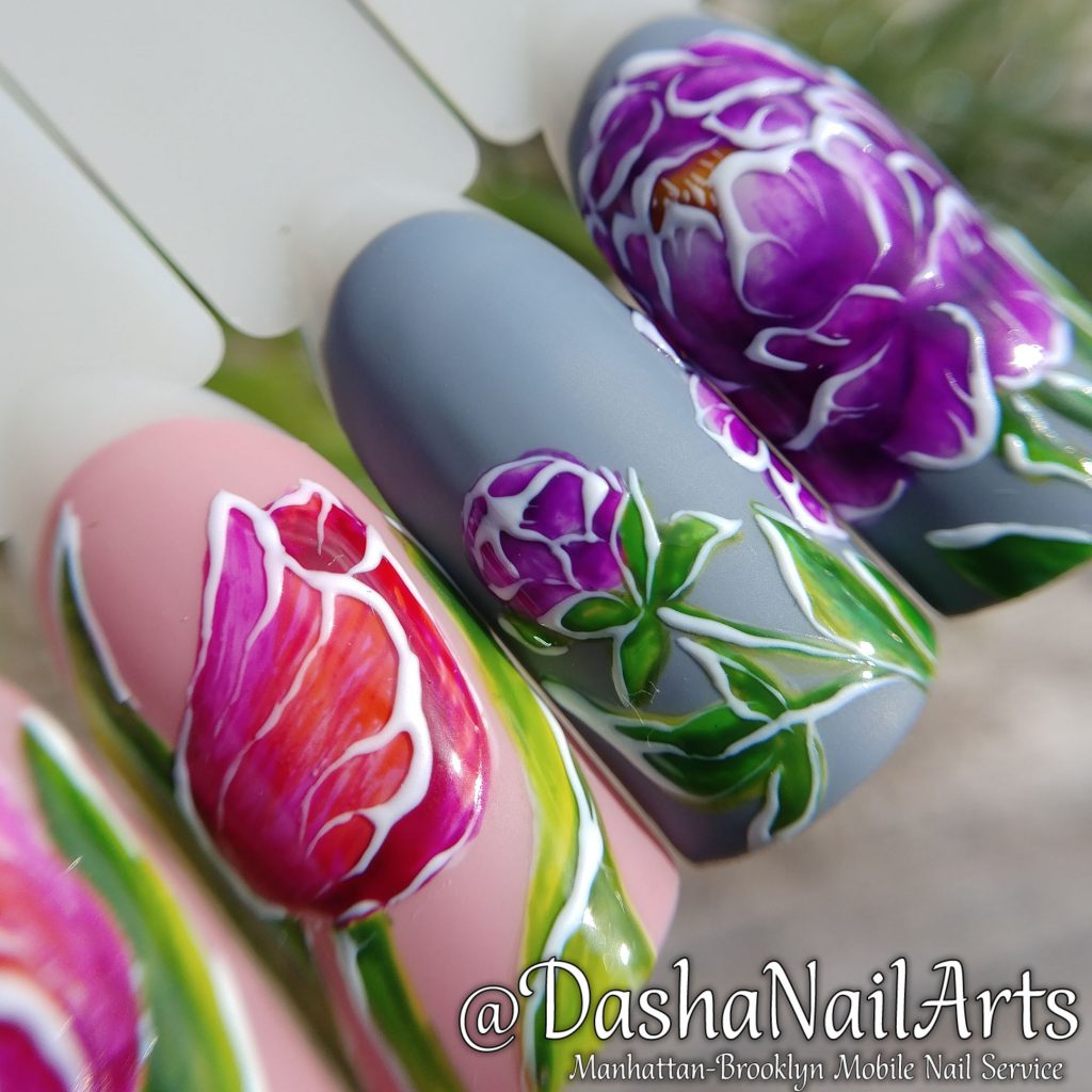 Pink tulip and pion flower nail art