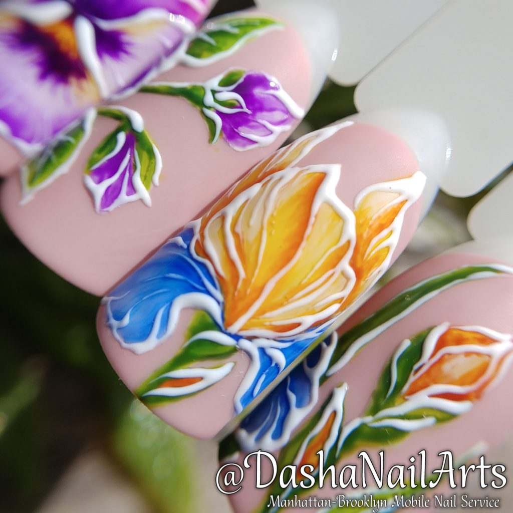 Pansy and narcissus flower nail art
