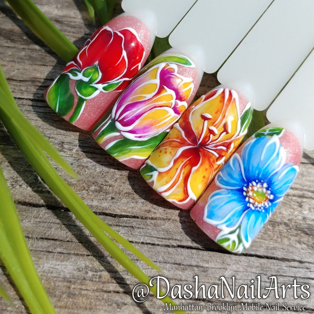 Lilac, tulip, roses and camomile flower nail designs