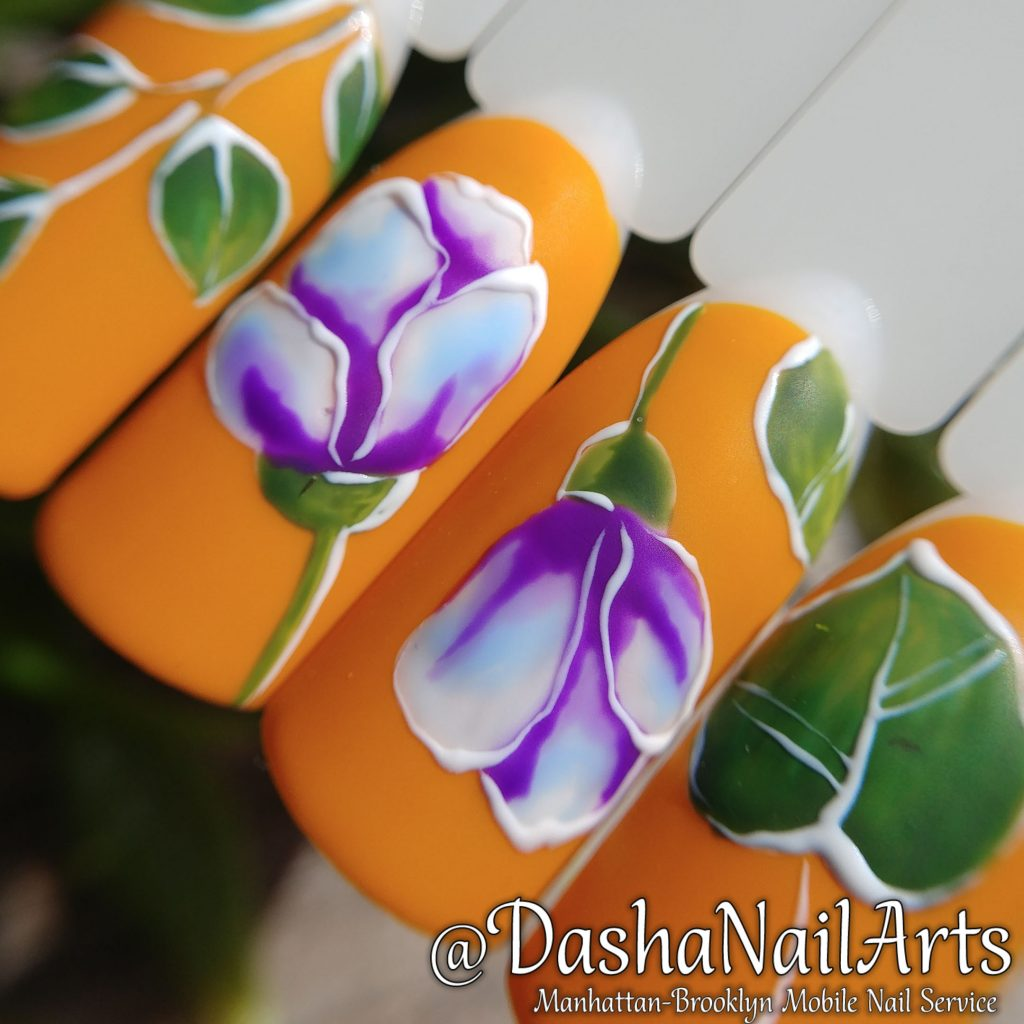 Roses flower pattern nails