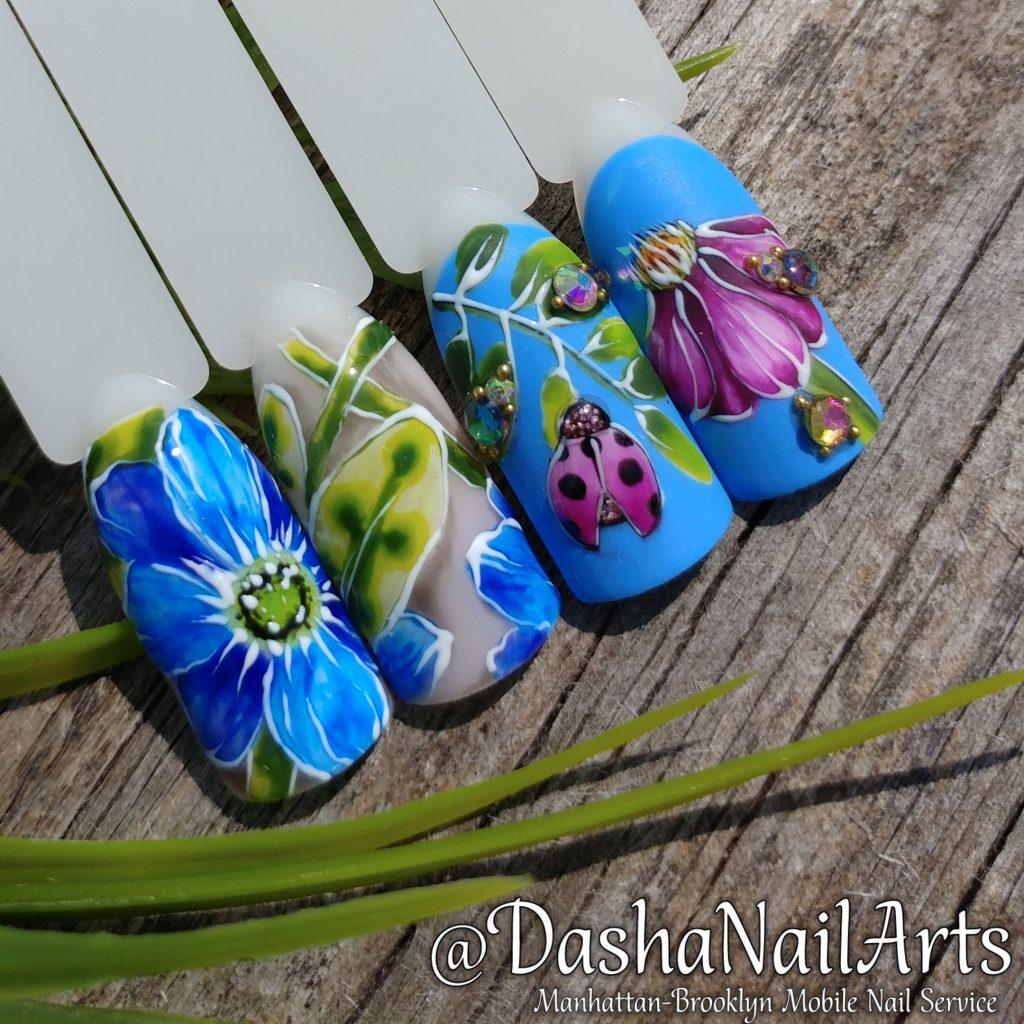 Ladybird flower nail design