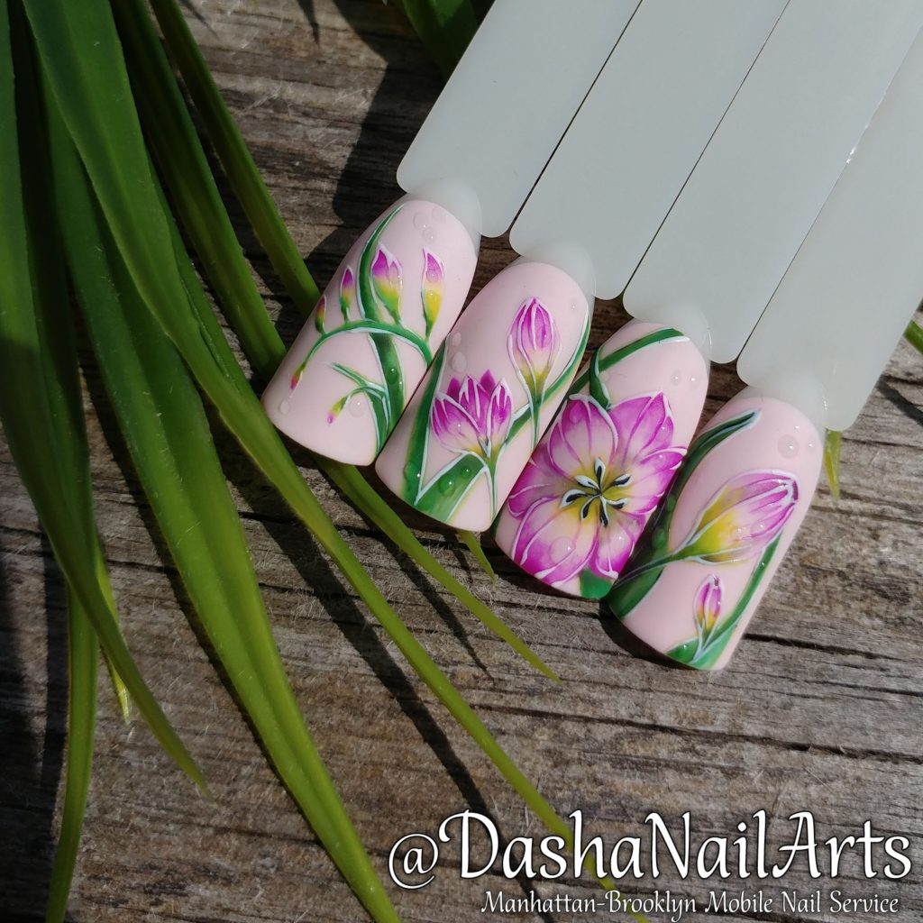 Pink Freesia flower nail art