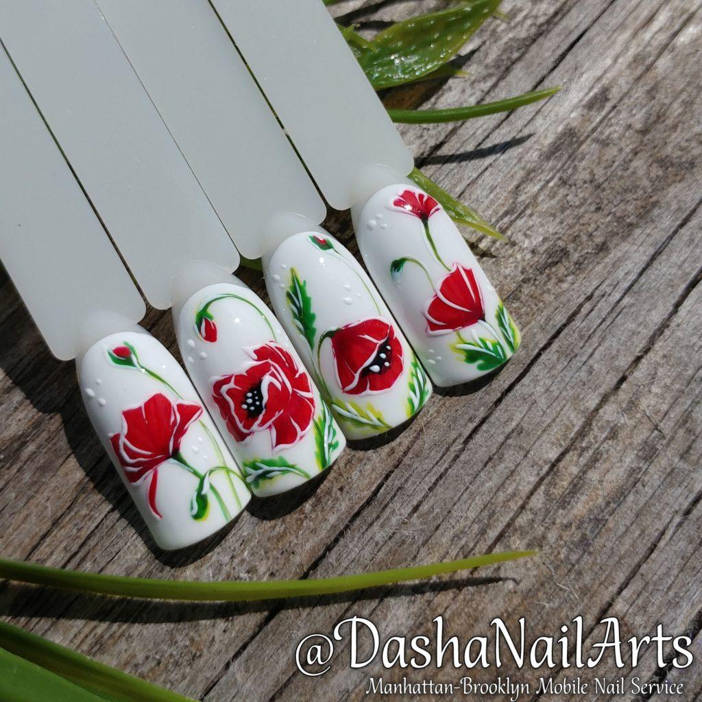 Poppy-seed flower nails