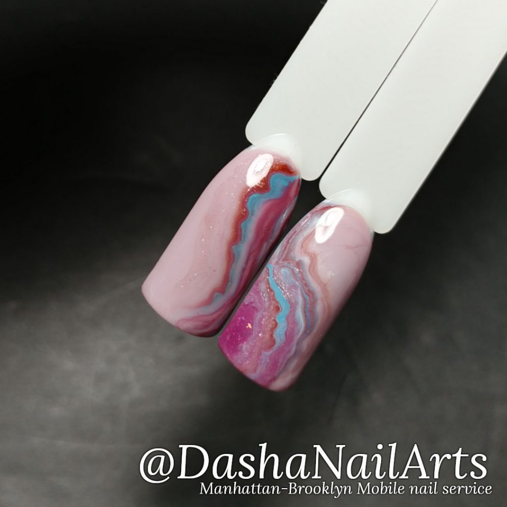 Rose quartz gemstone nails