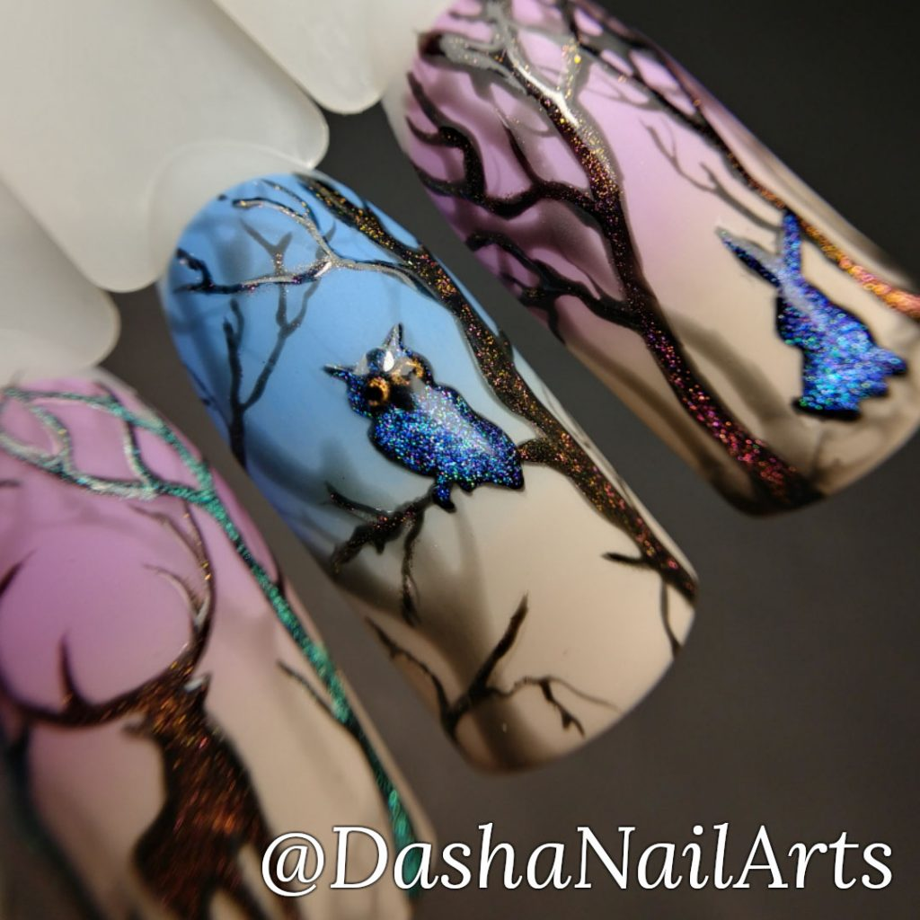Magic nails night forest, owl, rabbit, deer and panther, cat eye nails