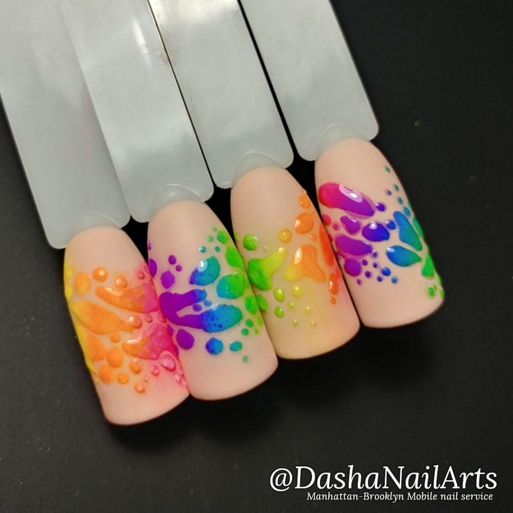 Neon nails with colored sparks