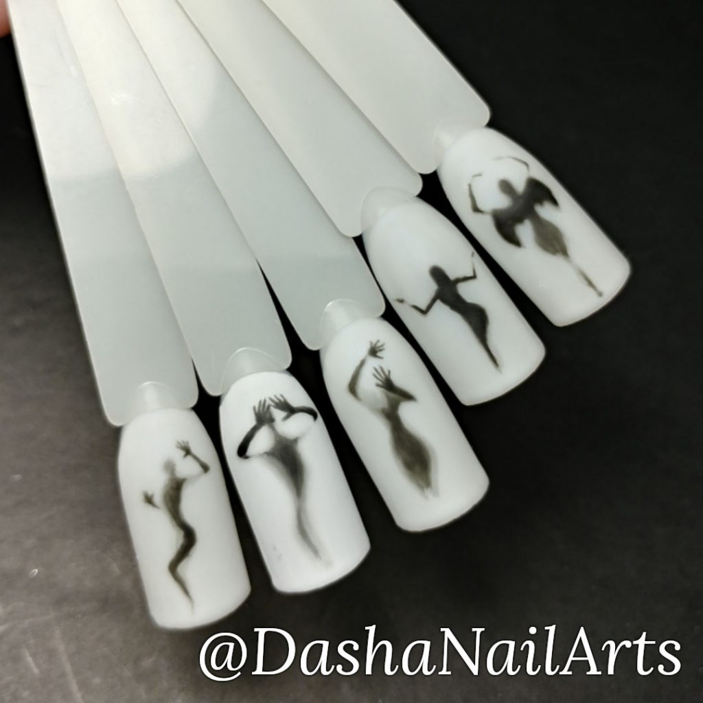 lady's silhouette nail design