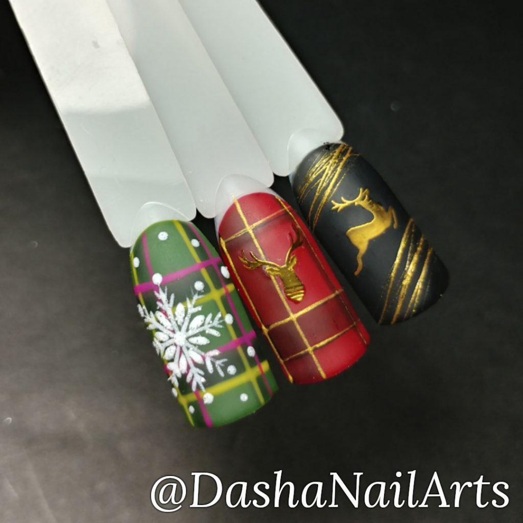 Gold, Red and green New Year nails with snowflakes, deer.