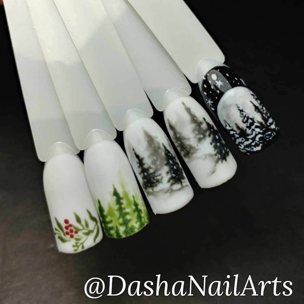 Winter forest nail design (watercolors) new year and Christmas nails