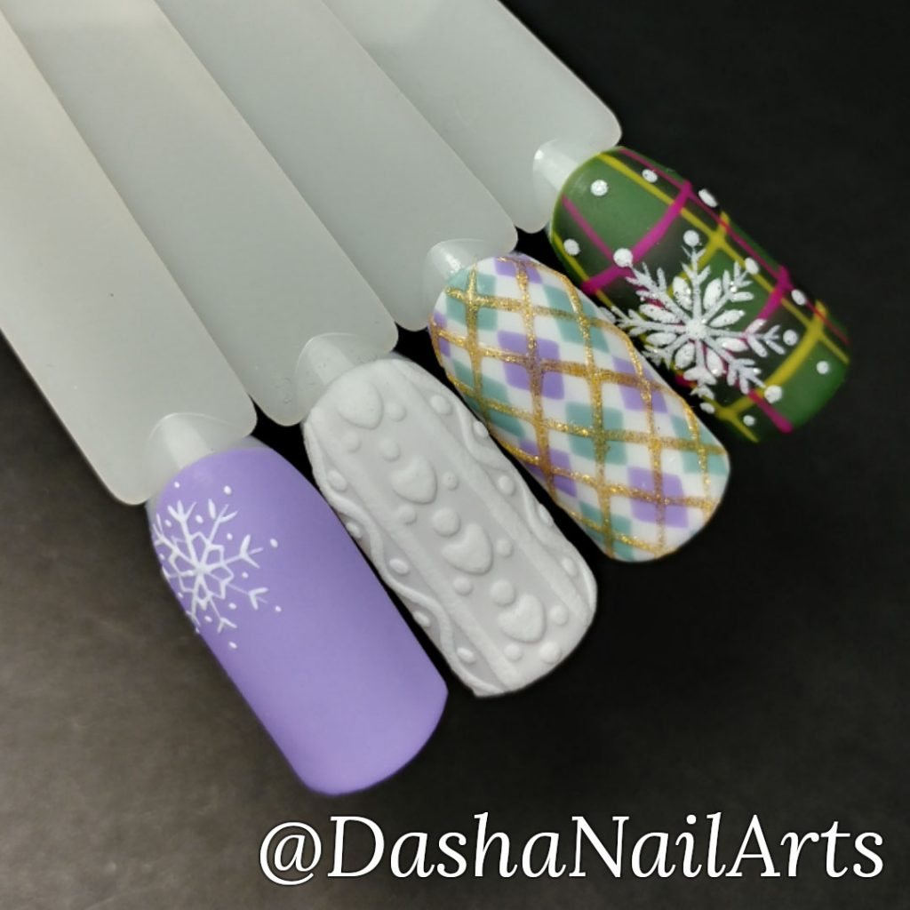 Christmas nails with 3D sweater nail design and snowflakes