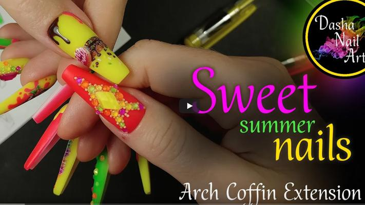 Arch Coffin nail extension TUTORIAL | Gel nail extension DIY | Neon nails