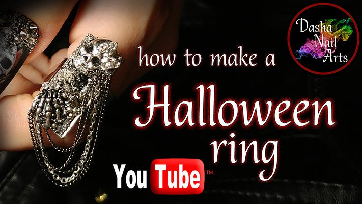 ⛓💀 DIY Halloween Ring with a skull, dangling metal chains and rhinestones 💀⛓